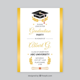 White and golden graduation party invitation