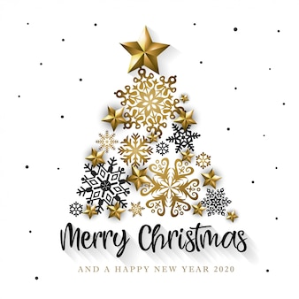White & golden merry christmas and happy new year 2020 greeting card