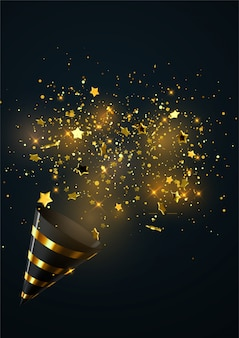White and golden party popper with exploding confetti particles isolated on black background.