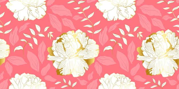 White golden peones and pink leaves seamless pattern
