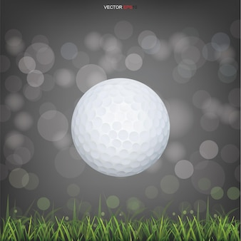 White golf ball in green grass field and light blurred bokeh background. vector illustration.