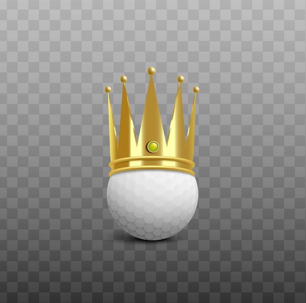 光沢のある黄金の王冠-透明な背景のリアルなイラストを着ている白いゴルフボール。ゴルフチャンピオンの勝利賞の要素。