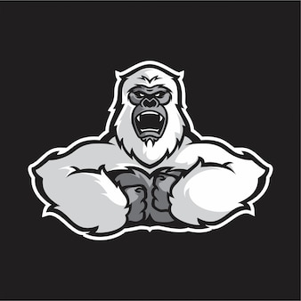 White gorilla half body vector