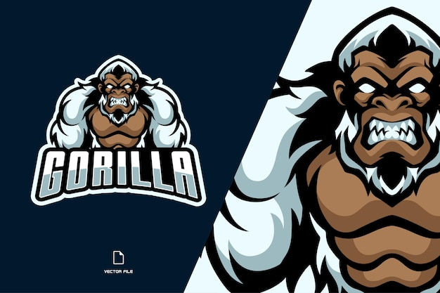 Иллюстрация логотипа талисмана белой гориллы
