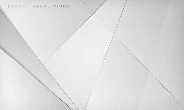 White and gray abstract luxury background with golden line.