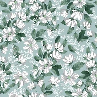 Белый серый цветок и зеленый лист бесшовные модели.