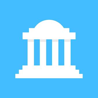 白いギリシャの列柱の建物。コリント式、構造、図書館、ファサード、ローマ、大学、ドーリア式、アクロポリス、廃墟の概念。青の背景にフラットスタイルのトレンドモダンなロゴタイプのグラフィックデザイン