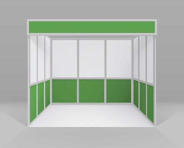 고립 된 프레 젠 테이 션을위한 흰색 녹색 빈 실내 무역 전시회 부스 표준 스탠드 프리미엄 벡터