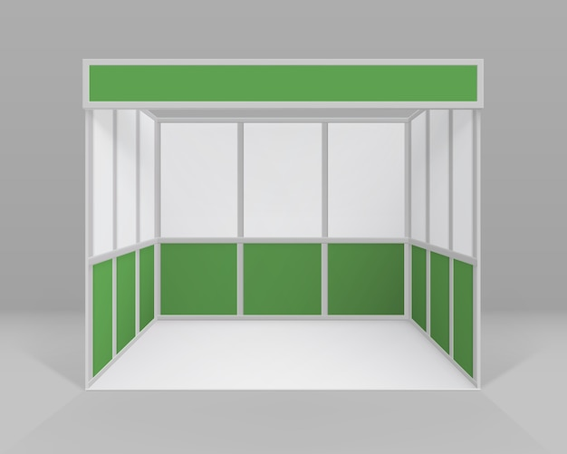 White green blank indoor trade exhibition booth standard stand for presentation isolated