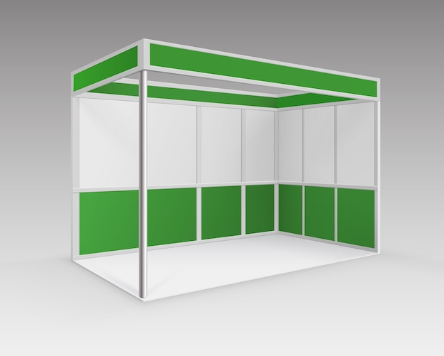 White green blank indoor trade exhibition booth standard stand for presentation in perspective isolated on background