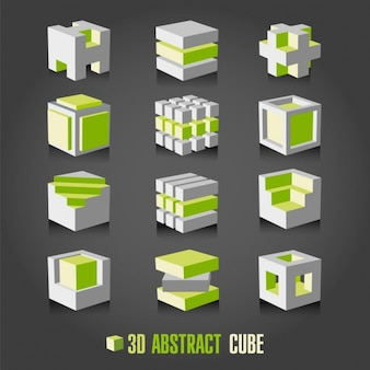 White and green cubes collection