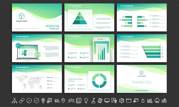 White and green presentation template set.