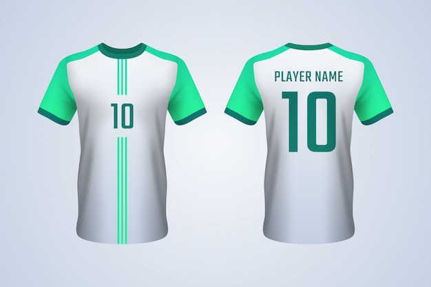 White and green soccer jersey template