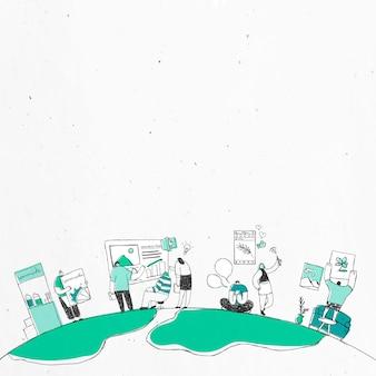 Illustrazione di arte di doodle di squadra di brainstorming di vettore bianco e verde