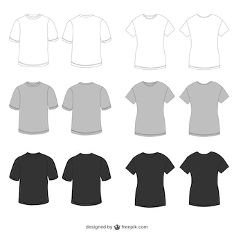 White, grey and black tees