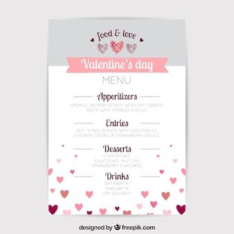 White and grey valentine menu concept