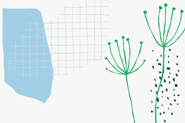 민들레 꽃 낙서와 흰색 격자 꽃 배경 벡터