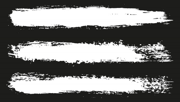White grunge brush paint strokes