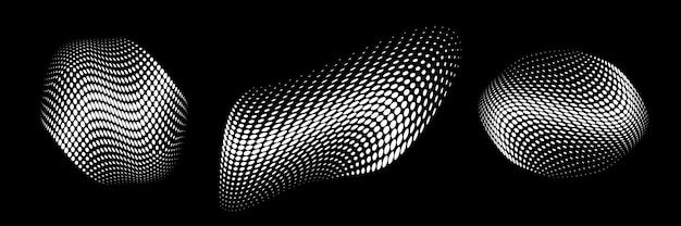 White halftone circle dots curved gradient texture background 3d logo curve dotted emblem vector