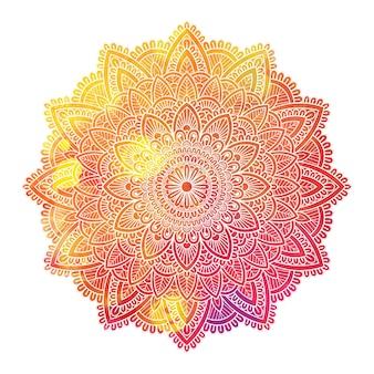White hand draw mandala on watercolor background.