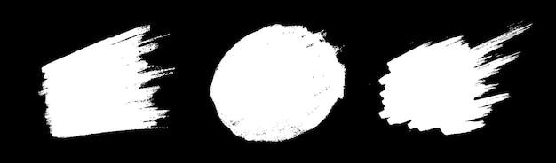 Белый рисованной кисть пятно схематичный набор каракули. текстура пятна мазка кистью.