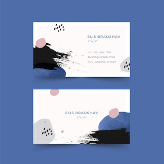 White hand painted business card