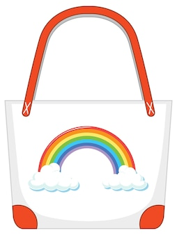 A white handbag with rainbow pattern