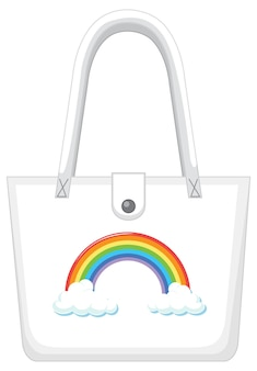 Una borsetta bianca con motivo arcobaleno