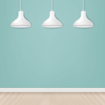 White hanging lamp on blank wall background
