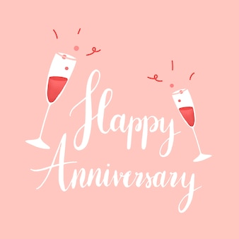 White happy anniversary typography vector