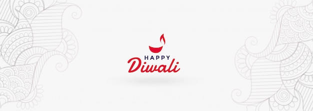 White happy diwali festival banner