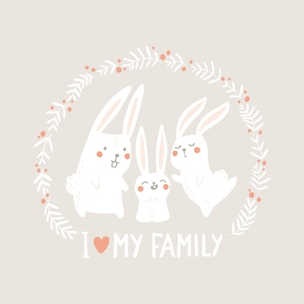 White hare rabbits in a round floral frame on a pastel beige background.