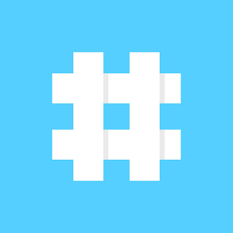 White hashtag icon on blue background. concept of micro blogging, web communicate, pr, popularity search, grid, short message exchange. flat style trend modern logotype design vector illustration