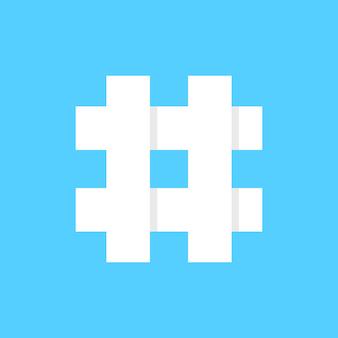 青い背景に白いハッシュタグアイコン。マイクロブログ、ウェブコミュニケーション、広報、人気検索、グリッド、ショートメッセージ交換のコンセプト。フラットスタイルトレンドモダンなロゴタイプデザインベクトルイラスト