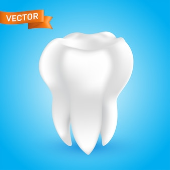 White healthy and clean human tooth, 3d style glowing teeth illustration isolated on blue background, can be used as a whitening procedure, dental health icon or in dentistry web design element