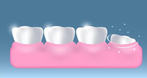 White healthy teeth and growing up new tooth vector illustration dentistry dental health oral hygien...