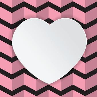 White heard happy valentine text box pink and black background