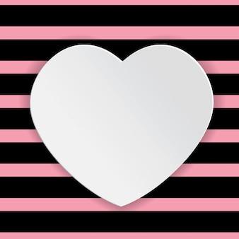 White heart happy valentine text box white background