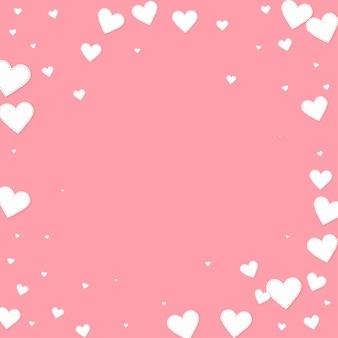 ピンクの白いハートの愛の紙吹雪