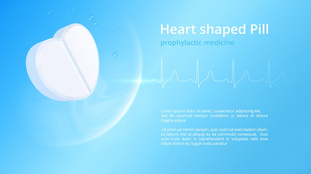White heart-shaped pill and authentic healthy cardiogram. template for healthcare pharmaceutical informative poster