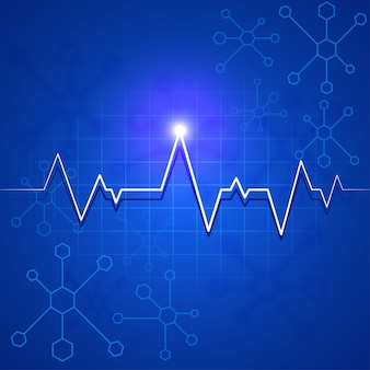White heartbeat pulse or electrocardiogram on blue molecules background for health and medical concept.