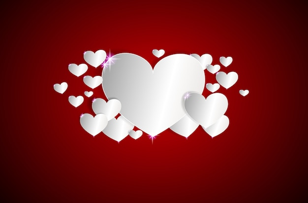 White hearts on a dark red background