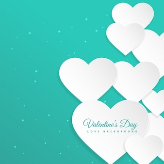 White hearts in turquoise background