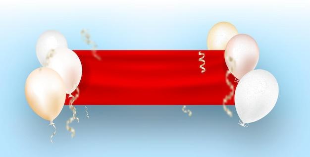 푸른 하늘에 붉은 깃발의 깃발을 들고 흰색 헬륨 풍선. 프리미엄 벡터