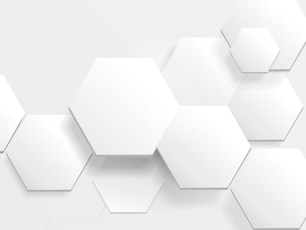 White hexagon technology digital hi tech concept background. abstract hexagon background.