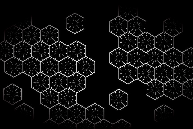 White hexagon with dark background