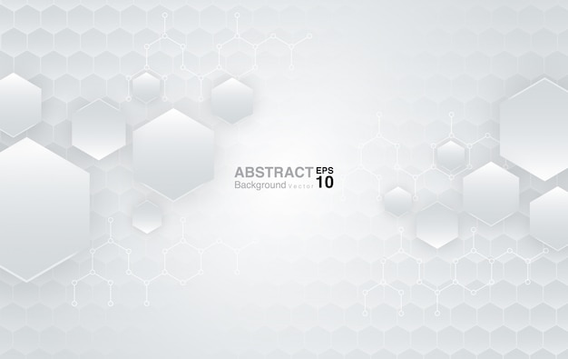 White hexagons background. futuristic background