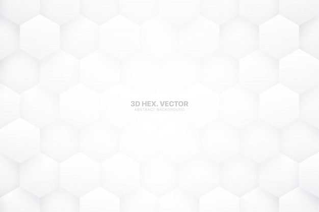 White  hexagons technology minimalist abstract background