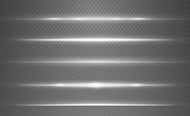 투명한 배경에 흰색 수평 렌즈 플레어