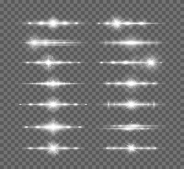흰색 수평 렌즈 플레어 팩 디자인